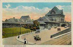 Springfield Massachusetts MA 1915 Old Union Railroad Depot Vintage Postcard