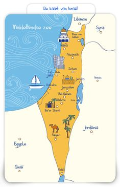 kaart Israël Bible Story Crafts, Bible Crafts For Kids, Bible Stories, Israel, Palestine Map, Terra Santa, La Ilaha Illallah, Bible Mapping, Hebrew School
