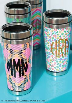 Get creative with ICPG's neon stainless steel travel mugs! If you have a vinyl cutting machine you can personalized them right in your store. www.incrediblycharming.com