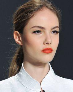 Minimal + Classic: perfect eyeliner & red-orange lip : Dennis Basso AW2014