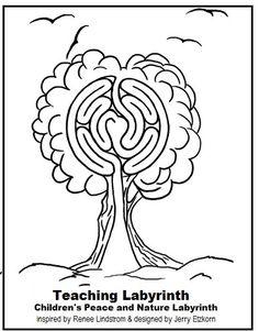 Children's Peace & Nature Labyrinth Easy Watercolor, Abstract Watercolor, Labyrinth Garden, Labrynth, Meditation Garden, Mindfulness For Kids, Ancient Symbols, Sacred Art, Sacred Geometry