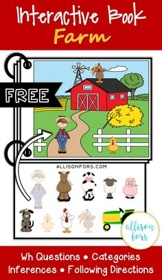 FREE speech therapy farm themed interactive book targeting various language goals. Use in speech therapy, preschool, for toddlers, and more!
