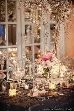 Decorative Bell Jars | Engaged! Show / LOVE the bell jars and crystal cake stands ...