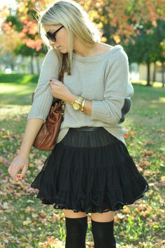 cute heels, thigh highs, tutu, and a cozy sweater? what more could i ask for?