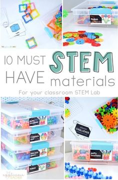 10 Must-Have STEM Materials for Your Classroom Want to to incorporate STEM activities in your elementary classroom? Here is a great start: 10 Must Have STEM materials for every classroom-TheAppl… Kindergarten Stem, Preschool Classroom, Future Classroom, Mint Classroom, Elementary Science Classroom, Physics Classroom, Classroom Activities, Classroom Decor, Elementary Schools
