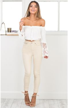 Fill Me In jeggings in beige | SHOWPO Fashion Online Shopping