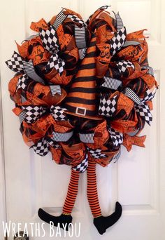 Halloween Wreath Witch Wreath with Legs Deco Mesh Wreath Halloween Decor