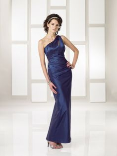 Taffeta One-shoulder Asymmetrical Neckline Gathered Bodice Ankle-length Wedding Party Dress