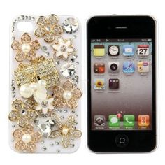 White BIG BLING 3d Handmade Crystal & Rhinestone Iphone 4 case/cover by Jersey Bling