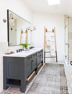 We are starting our master bathroom renovation and I'm sharing my favorite bathroom designs that have inspired me for our Modern Vintage Bathroom! Master Bathroom Renovation, Bathroom Inspiration, Bathroom Decor, Bathrooms Remodel, Beautiful Bathrooms, Grey Bathrooms, Modern Vintage Bathroom, Amber Interiors, Bathroom Design