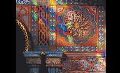 Detail of the polychrome decorations in the Castello di Sammezzano at Reggello in Tuscany. The interiors were influenced by the Alhambra in Grenada, with many Moorish themes, and the rooms were called by the fashionable oriental names of the time: the Peacock Room and 'Sala degli Amanti' (Room of Lovers)