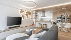 The Interior Of This Apartment Is Filled With Wood To Create A Warm And Welcoming Atmosphere Hidden Lighting, Small Hallways, Apartment Interior Design, Interior Photography, Bars For Home, Apartment Living, Home And Living, Living Rooms, Home Furniture