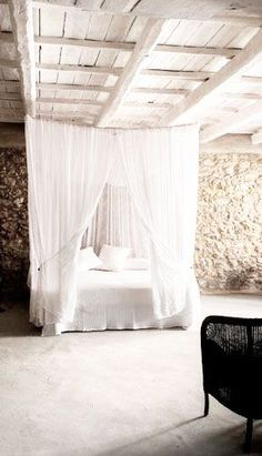 = bed net and white beams