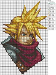 Final Fantasy VII Cloud Cross Stitch Pattern