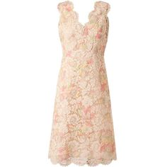 VALENTINO Floral Lace Dress (3,095 BAM) ❤ liked on Polyvore featuring dresses, vestidos, valentino, lace, pink lace dress, scalloped dress, pastel pink dresses, pastel floral dress and scallop hem dress