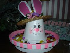 Flower pot candy dish can be done for any holiday.