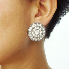 Art+Deco+Style+Bridal+Stud+Earrings+Crystal+Bridal+by+luxedeluxe,+$52.00