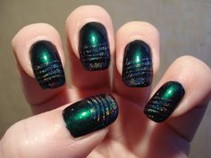 Little Miss Nailpolish: Holo stripes on Beetle Green for Nail Art Sunday