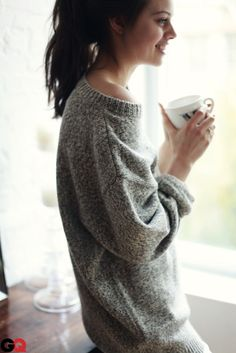 big comfy sweaters and coffee = perfection