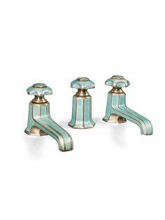 MOTEHISTORIE — Art Deco enameled bath taps,1925-1935. Marked...