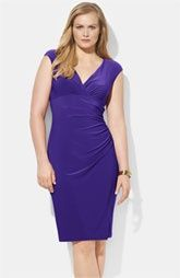 Lauren by Ralph Lauren 'Adara' Matte Jersey Dress (Plus). Love the purple color. The ruching makes it flattering in the tummy! You can wear a lace tank underneath if you need to cover up the cleavage a bit for work!