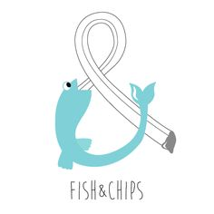Fish & Chips by stefanie traynor love the font the fish and the colors Fish And Chip Shop, Fish Drawings, Fish And Chips, Shop Logo, Letters, Graphic Design, Art Prints, Logos, Seafood