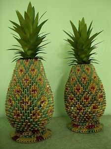 Nice creation of pattern and just using modular units  http://www.papercraftcentral.net/2012/02/3d-origami-colorful-pineapple/