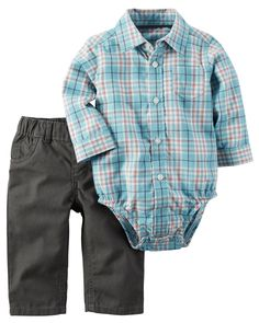 Baby Boy 2-Piece Button-Front Bodysuit & Pant Set from Carters.com. Shop clothing & accessories from a trusted name in kids, toddlers, and baby clothes.