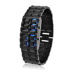 Blue LED Black Metal Watch - Dark Samurai