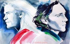 Thor & Loki Tom Hiddleston Fine Art Print of Original Watercolor Painting Portrait Blue Green Hiddles