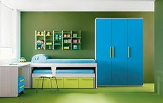 chambre enfant vert et bleu océan