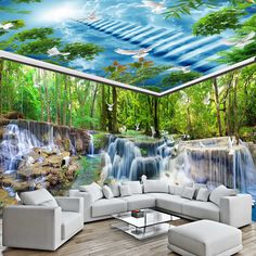 Cheap wall photo mural, Buy Directly from China Suppliers:HD Waterfall Forest Crane Dove Nature Landscape Mural Wallpaper Full House Background Wall Photo Murals Papel De Parede Sala 3d Nature Wallpaper, 3d Wallpaper For Walls, Cheap Wallpaper, Textured Wallpaper, Photo Wallpaper, 3d Wall Murals, Living Room Background, Photo Mural, Facade House