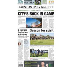 The front page of the Taunton Daily Gazette for Saturday, Sept. 19, 2015.