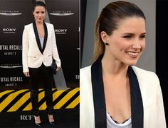 Jessica Biel and Kate Beckinsale donning dramatic feminine looks at the 'Total Recall' LA premiere Aug 1, 2012. Sophia Bush opted for a more boyish look. She wore an IRO ivory blazer with black lapels and zipper pocket details which she paired with slick black leather leggings and a slouchy white tee with a black lace lining.