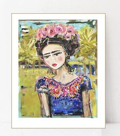 Frida Kahlo Print roses pretty portrait paper or canvas