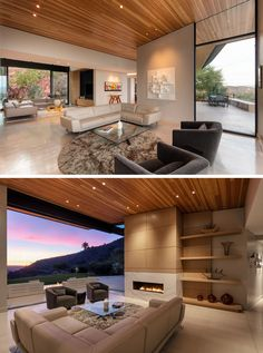 This modern living room has a fireplace and open shelving, while large sliding glass doors open the Casual Living Rooms, Outdoor Living Rooms, Modern Living, Sliding Glass Door, Glass Doors, Styling Bookshelves, Fireplace Shelves, Fireplace Glass, Guest Bedrooms