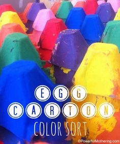 Egg Carton Crafts a Color Sort Activity from Powerful Mothering