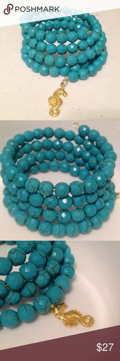 4 Strand Turquoise Wrap Bracelet Handmade by Colby Designs. Features turquoise beads and a seahorse charm. If you are interested in a different charm let me know (before u buy!) and I'll check my inventory 😃 Handmade Jewelry Bracelets