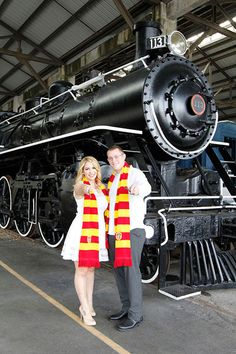This couple grabbed their wands and scarves (from The Wizarding World of Harry Potter, naturally) and posed for their engagement photos at GC Railroad Museum in Miami, FL, which represented the Hogwarts Express and its special train platform, Platform Harry Potter Teil 1, Harry Potter Jobs, Harry Potter Proposal, Harry Potter Engagement, Harry Potter Wedding, Harry Potter Theme, Harry Potter Hogwarts, Geek Wedding, Fantasy Wedding