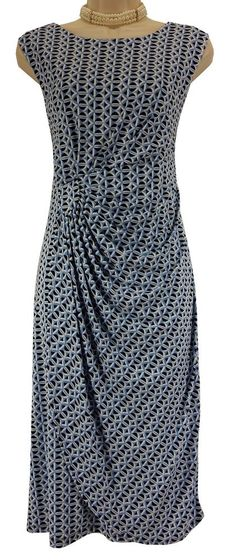 14 Large XL SEXY Womens BLUE GEO PRINT FAUX-WRAP DRESS Day/Evening Spring Summer #EnFocusStudio #FauxWrap #Versatile