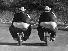 Fat men on motorcycles. Gets me every time.