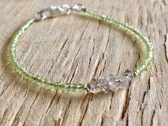 A personal favourite from my Etsy shop https://www.etsy.com/no-en/listing/585391304/green-gemstone-bracelet-herkimer-diamond