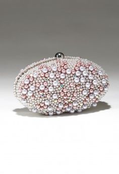 Multi Pearl Beaded Rhinestone Clutch