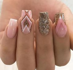 18 Trending Nail Designs That You Will Love - Best Nail Art Pink Gold Silver Glitter Geometric Manicure - French tip - Square shaped long nails - cute summer fall spring fingernails - gel nails - shellac - Gorgeous Nails, Love Nails, Best Nails, Gorgeous Makeup, Nagellack Trends, Best Nail Art Designs, Square Nail Designs, Nail Designs With Gold, Long Nails