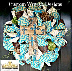 Turquoise Chevron Burlap Wreath With Cross by lilmaddydesigns, $135.00