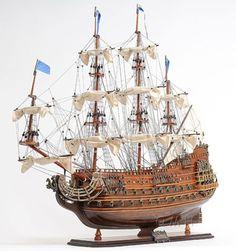 French-Navy-Soleil-Royal-Royal-Sun-28-Wooden-Model-Tall-Ship-Sailboat