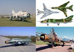 Aviones cazabombarderos interdictores supersónicos Sukhoi Su-22. El primero es un Su-17 conservado en un museo militar en Toliatti, Rusia. La segunda figura es un perfil de tres vistas del Su-22M4 de la Fuerza Aérea de Polonia. La tercera y cuarta vista corresponden a dos Su-22 de la Fuerza Aérea de Checoeslovaquia