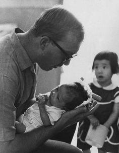Unknown soldier volunteers at Vietnamese orphanage in Saigon.