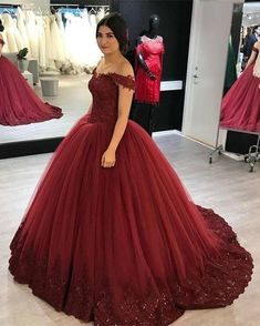 A Glamorous Tulle Ballgowns Floor Length Dress Featuring A V-neck With Lace Appliques and off the shoulder design. Perfect For Prom,Evening,Formal Wedding Or Any Other Special Occasions ! Luxury Wedding Dress, V Neck Wedding Dress, Formal Wedding, Maroon Wedding, Wedding Dresses, Gown Wedding, Bridal Gown, Tulle Wedding, Bridesmaid Dresses