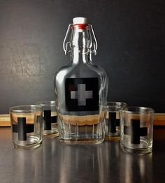 First Aid Flask    Forget metal flasks.  Glass is the safest way to swig.